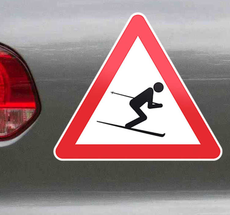 Warning Skier Sticker
