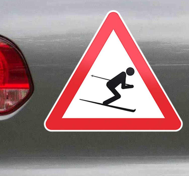 TenStickers. Naklejka znak ostrzegawczy uwaga narciarz. naklejki - znaki drogowe. naklejki na ścianę dla narciarzy. naklejka uwaga narciarze. naklejka znak ostrzegawczy.