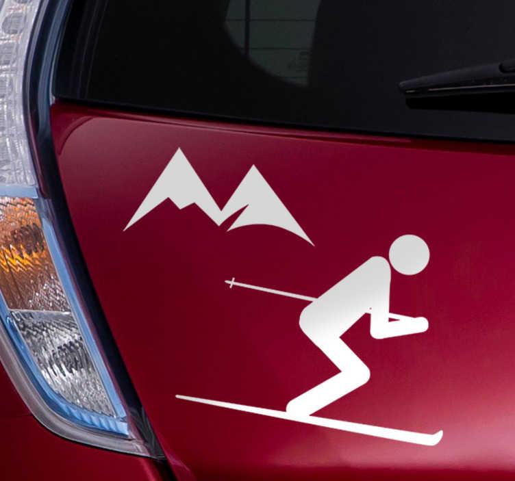 TenVinilo. Sticker decorativo icono esquiador. Sticker decorativo de un icono con un esquiador y unas montañas de fondo para amantes de los deportes de invierno.