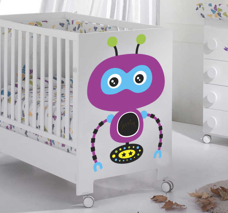 TenStickers. Lila Roboter Aufkleber. Mit diesem lila Roboter als Wandtattoo können Sie das Kinderzimmer schnell und einfach dekorieren.