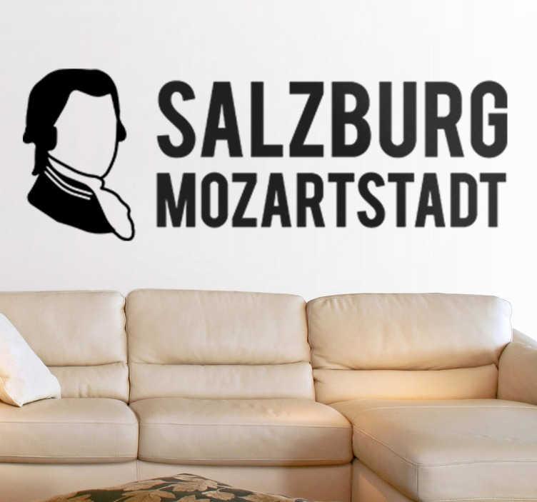 TenStickers. Wandtattoo Mozartstadt. Dekoratives Wandtattoo für das Wohnzimmer. Erinnert an den Komponisten Mozart und ehrt seine Geburtstadt in Österreich, Salzburg.