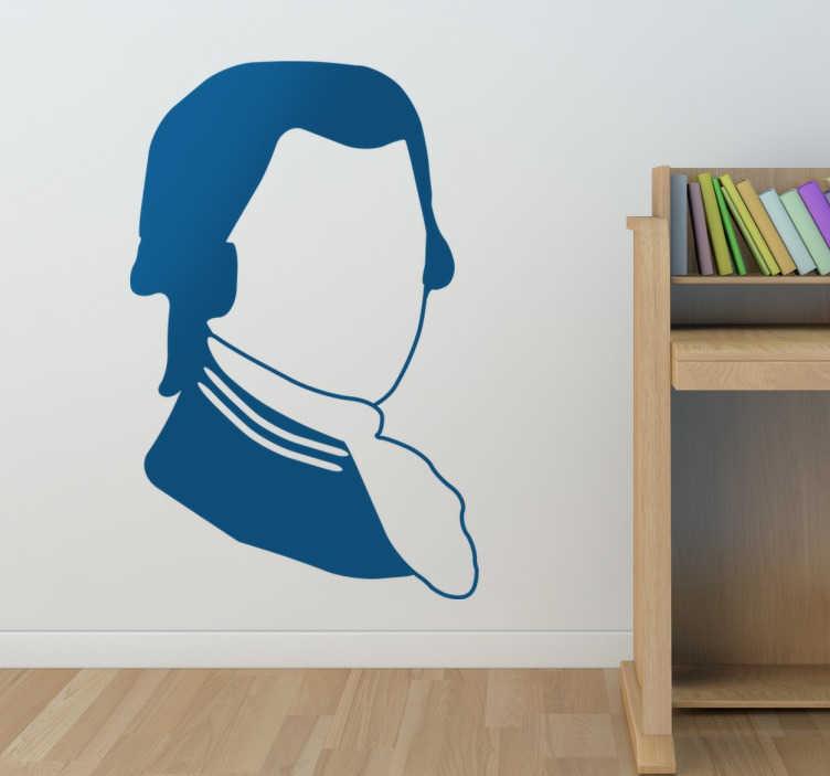 TenStickers. 모차르트 실루엣 벽 스티커. 유명한 오스트리아 클래식 음악가이자 작곡가의 실루엣 벽 스티커; 모차르트.