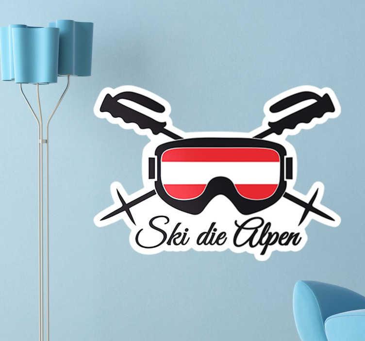 """TenStickers. Wandtattoo Ski die Alpen. Dekoratives Wandtattoo von einer Skibrille, Skistöckern und dem Satz """"Ski die Alpen"""". Ideal für alle die den Wintersport lieben."""