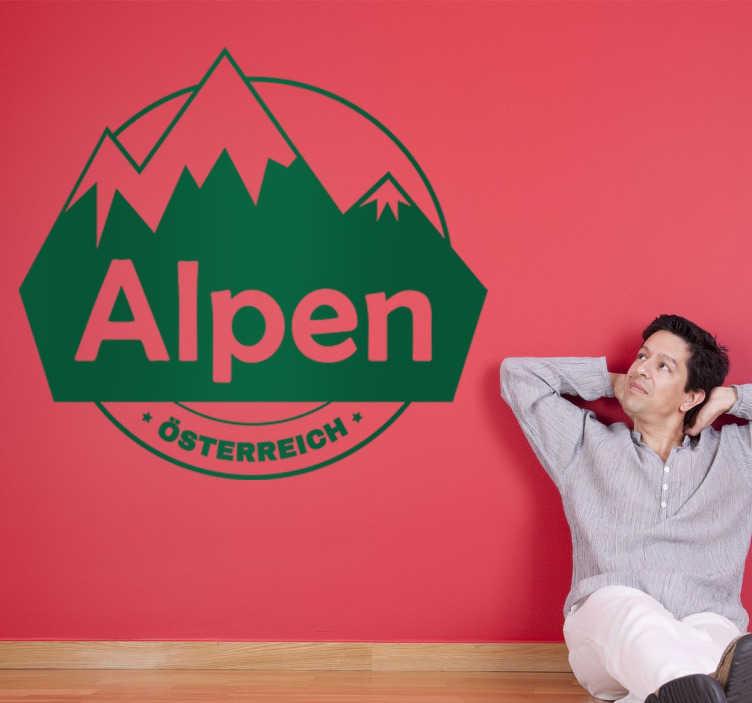 TenStickers. Aufkleber Alpenº. Dekoratives Wandtattoo welches Berge mit dem Text Alpen - Österreich abbildet.