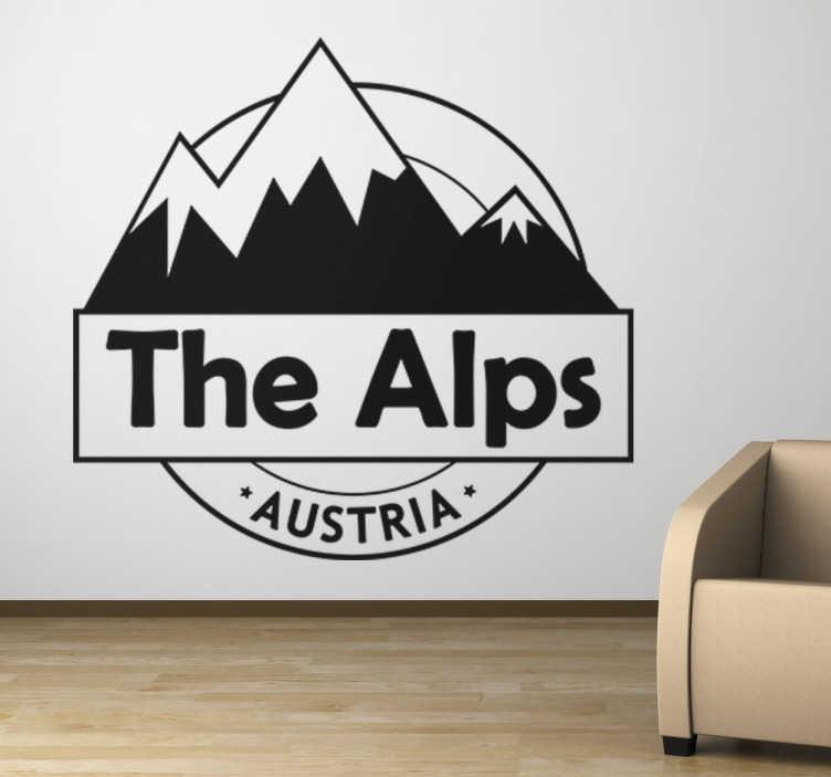 TenStickers. Wandtattoo The Alps. Tolles Wandtattoo der österreichischen Alpen. Abgebildet werden schneebedeckte Berge mit dem Text The Alps - Austria.
