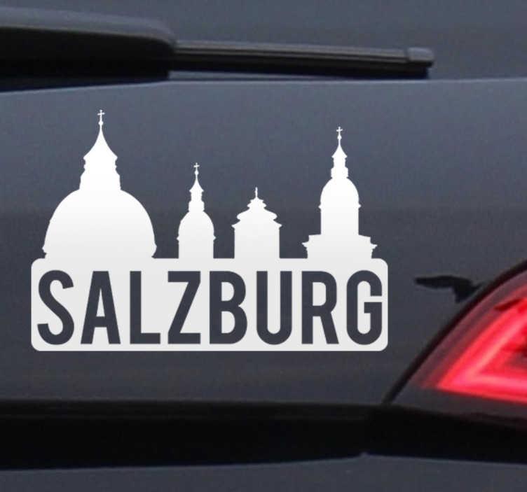 TenStickers. Wandtattoo Salzburg. Schöner Sticker mit dem Stadtnamen Salzburg und den Türmen der Kathedrale.