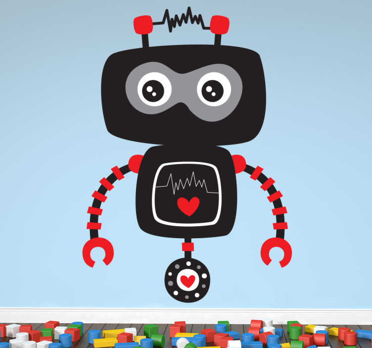 TenStickers. 孩子黑色和红色机器人贴花. 一个有趣和有趣的插图,一个黑色的机器人准备好奇迹并开始冒险。我们的机器人墙贴系列设计。一个创意贴花,非常适合装饰儿童卧室和托儿所。