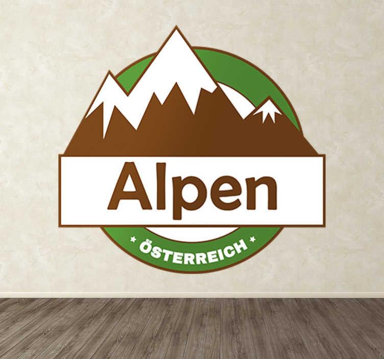TenStickers. Wandtattoo Österreich Alpen. Dekoratives Wandtattoo welches die österreichischen Alpen abbildet. Ideal für Restaurants, Apres-Ski Bars und Hotels in den Alpen.