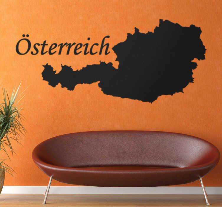 TenStickers. Wandtattoo Silhouette Österreich. Fantastisches Wandtattoo von der Silouhette von dem schönen Land Österreich. Dekorieren Sie Ihr Wohnzimmer oder Schlafzimmer.