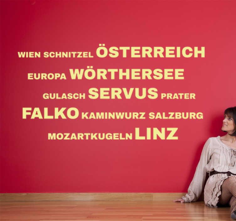 TenStickers. Wandtattoo Wörter Österreich. Dekoratives Wandtattoo mit vielen deutschen Begriffen zum Thema Österreich.