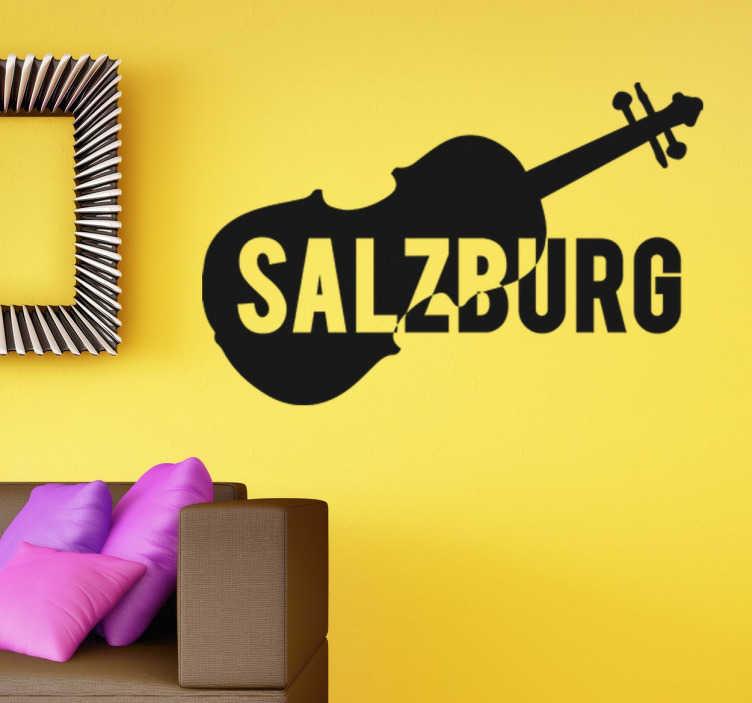 TenStickers. Wandtattoo Salzburg und Violine. Dekoratives Wandtattoo von einer Geige mit dem Stadtnamen Salzburg.