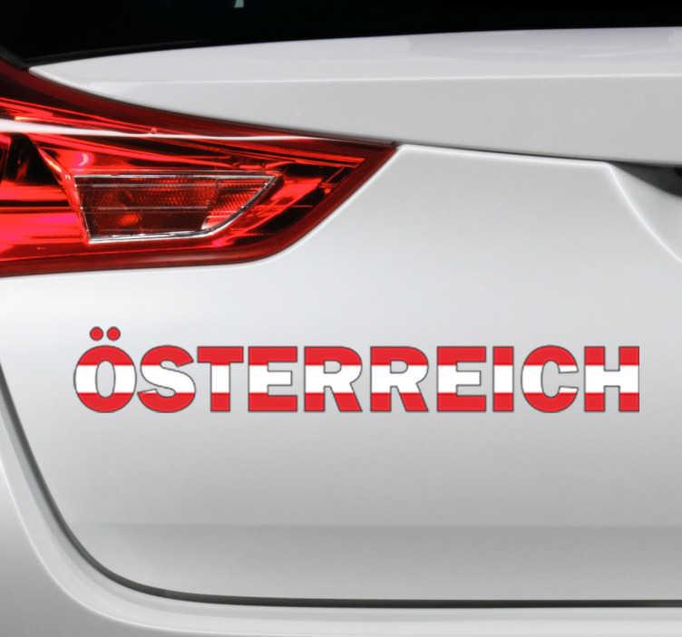 TenStickers. Sticker Text Österreich. Dekorativer Text Sticker - Abgebildet wird das Wort Österreich in den Nationalfarben, Rot und Weiß.