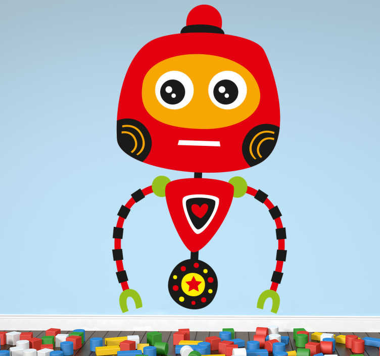 TENSTICKERS. 赤いロボットの子供のステッカー. 友人を探しているフレンドリーな楽しい赤いロボットです。私たちのロボットの壁のステッカーのコレクションからのデザイン。あなたの子供の寝室を飾ると、このカラフルなロボットでより楽しい雰囲気を作成します。