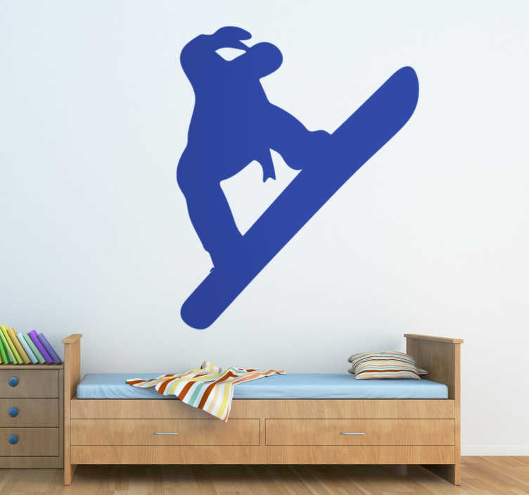 TenStickers. Muursticker Silhouet Snowboard. Decoratieve muursticker die het silhouet van een snowboarder illustreert, geschikt voor de woonkamer of andere ruimte in huis. Voordelig personaliseren.