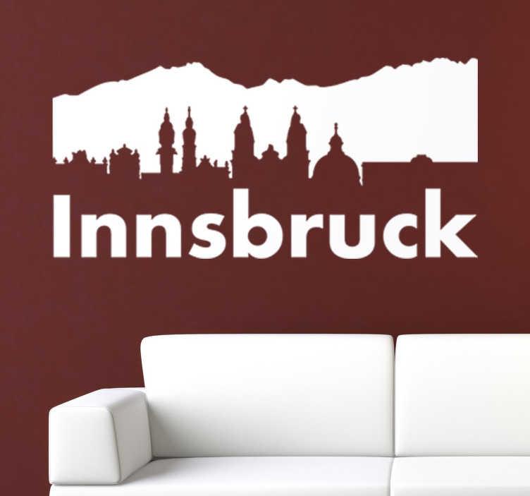 TenStickers. Wandtattoo Skyline Innsbruck. Spektakuläres Wandtattoo der Skyline von der schönen Stadt Innsbruck in Österreich. Ideal zur Dekoration vom Wohnzimmer.