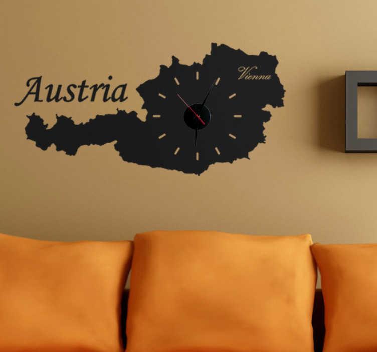 TenStickers. Wandtattoo Silouhette Österreich Wanduhr. Dekoratieves Wandtattoo als Wanduhr in der Form von dem wunderschönen Land Österreich. Zeigen Sie Nationalstolz.