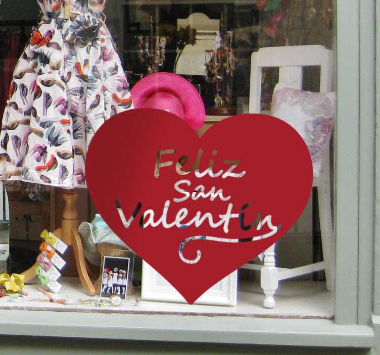 TenVinilo. Vinilo decorativo corazón Feliz San Valentín. Vinilos para escaparates con los que promocionar la próxima campaña de San Valentín.