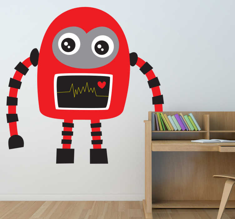 TenStickers. 빨간색과 검은 색 로봇 데칼. 창의력과 재미 심장의 로봇의 그림. 우리의 로봇 벽 스티커 컬렉션의 일부인 웅장한 디자인입니다.