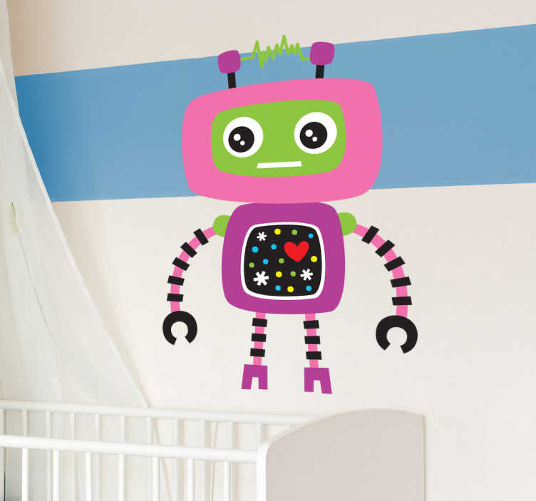 TenVinilo. Vinilo infantil robot rosa. Vinilo infantil de un robot con cara verde y rosa. Tiene unos grandes ojos negros y dos antenas en la cabeza para comunicarse.