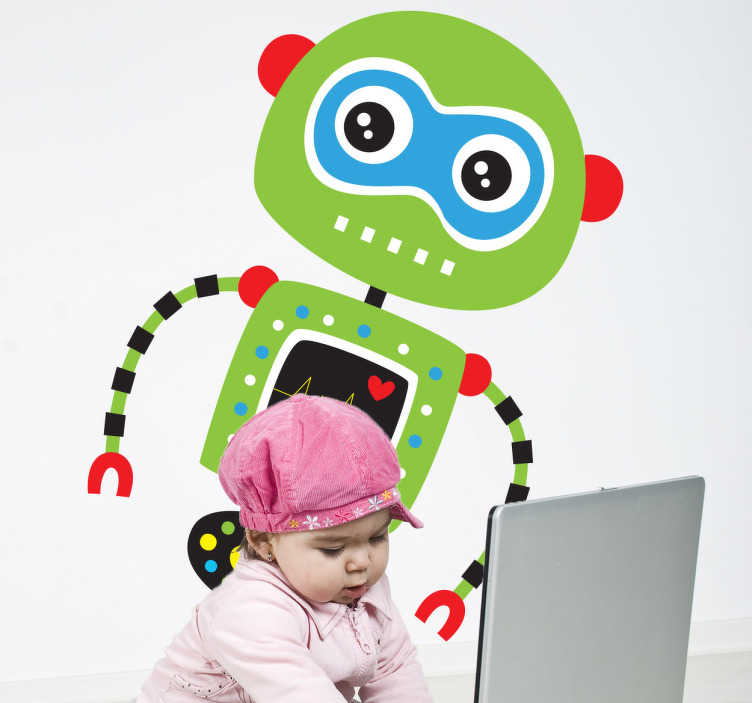 TenVinilo. Vinilo infantil robot verde. Vinilo infantil de un robot de color verde con la boca hecha por puntos blancos y las dos orejas de color rojo igual que los hombros y las manos.