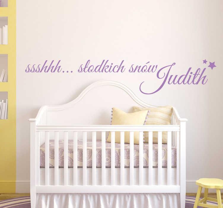 """TenStickers. Naklejka z napisem słodkich snów. Naklejka na ścianę do pokoju maluszka! Naklejka z uroczym napisem """"Słodkich snów..."""". Naklejki na ścianę dla dzieci, które będą rewelacyjną ozodbą."""