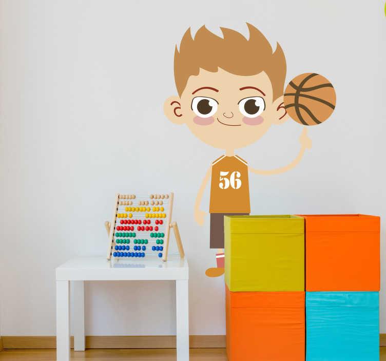 TenStickers. Lustiger Basketballspieler. Mit diesem Basketballspieler als Wandtattoo können Sie die Wand im Kinderzimmer dekorieren - ideal für alle kleinen Basketball Fans!