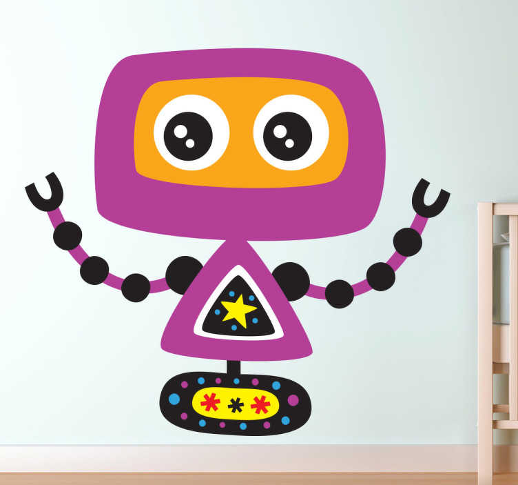 TenStickers. Stickers til børneværelset lilla robot. Wallstickers til børneværelset - Sødt klistermærke med motiv af en sjov lilla robot. Se også vores andre robot dekorationer. Fås i mange størrelser