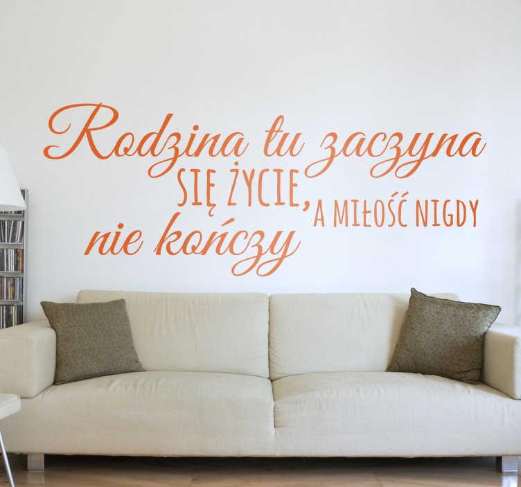 TenStickers. Naklejka z napisem rodzina. Naklejka na ścianę z napisami po poslu i definicją każdej kochającej się rodziny. Przepiękna ozdoba do salonu czy sypialni.