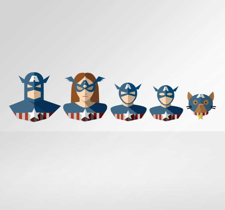 TenVinilo. Pegatina familia Capitán América. Vinilos de superhéroes para toda la familia ideales para colocar sobre el chasis de tu coche.