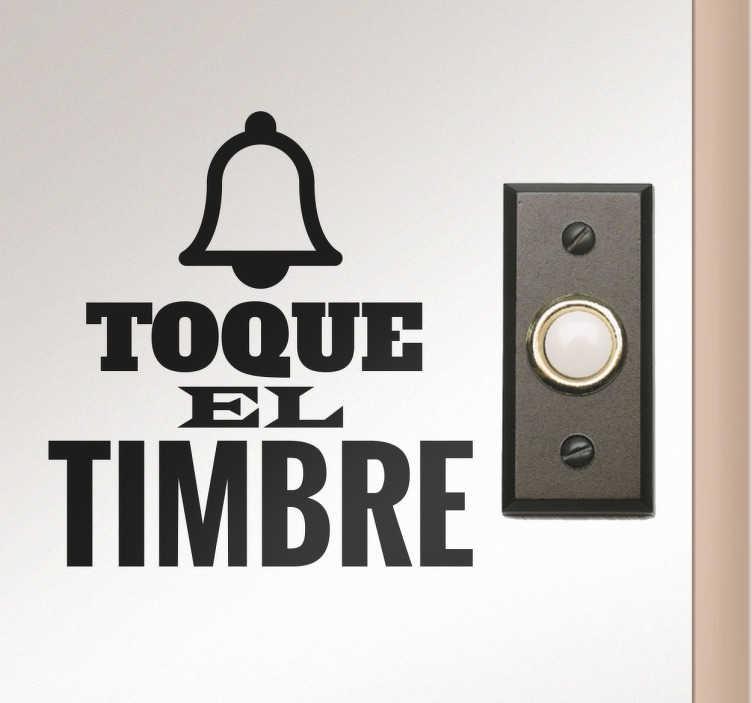 TenVinilo. Vinilo decorativo llame a la puerta. Vinilos para señalización de puertas, concretamente para indicar dónde está el timbre con diseño exclusivo.
