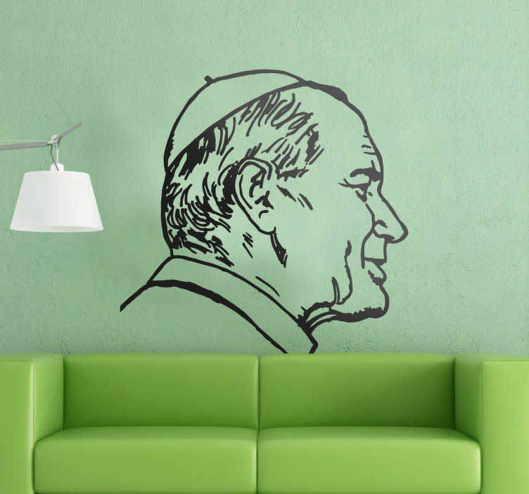 TenVinilo. Vinilo decorativo retrato Papa Juan Pablo. Murales y vinilos pensados para un público creyente y seguidor de la vida y obra del papa Karol Wojtila.