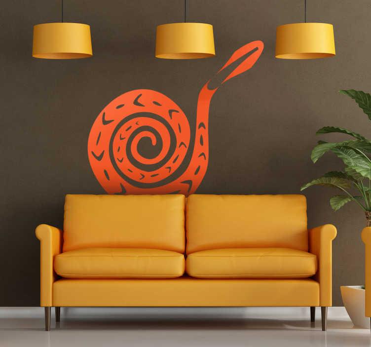 """TenStickers. Sticker decorativo serpente. Adesivo murale che raffigura una vipera arrotolata su sé stessa. Una decorazione originale per gli appassionati di rettili """"da compagnia""""."""