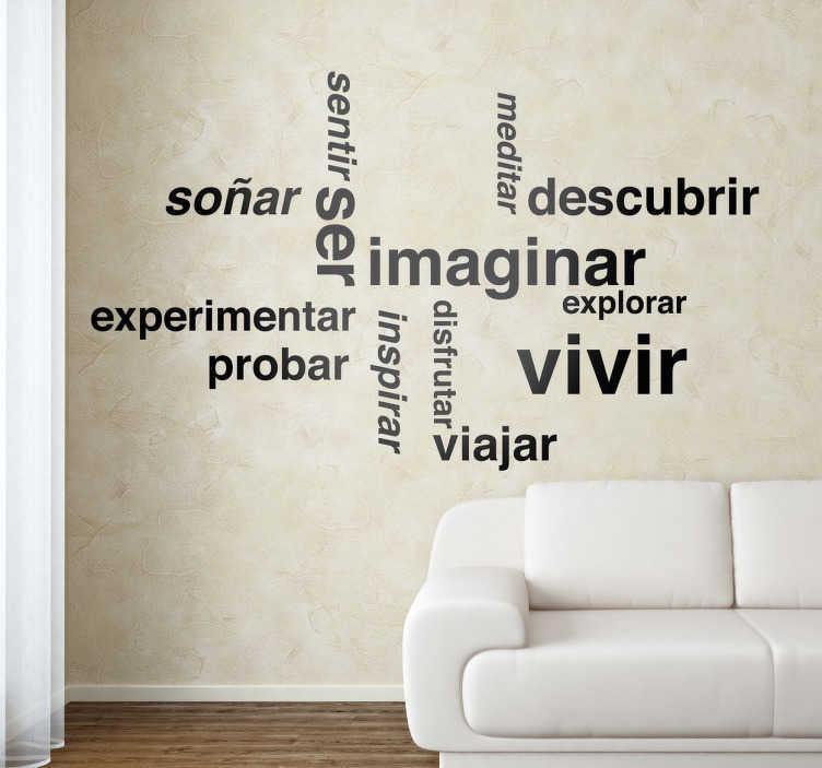 TenVinilo. Vinilo decorativo textos sueños apaisado. Vinilos de palabras motivacionales disponibles en gran variedad de tamaños y más de cincuenta colores distintos.