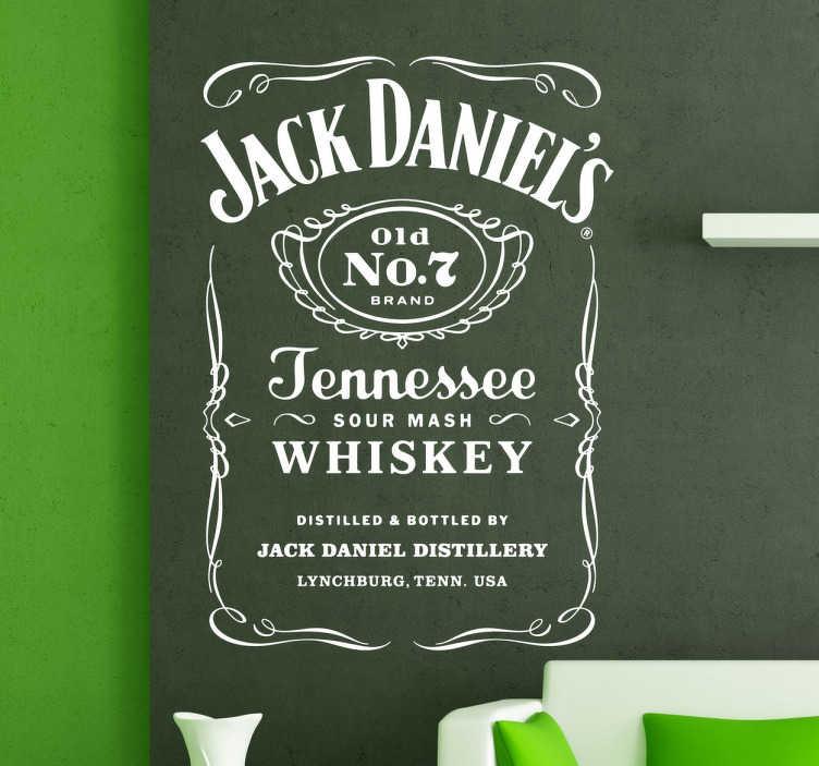 TenStickers. Naklejka etykieta Jack Daniel's. Naklejka na ścianę z napisami ułożonymi na kształt etykiety z butelki whiskey Jacka Danielsa. Napisy na ścianę, która będzie do wystroju pubu.