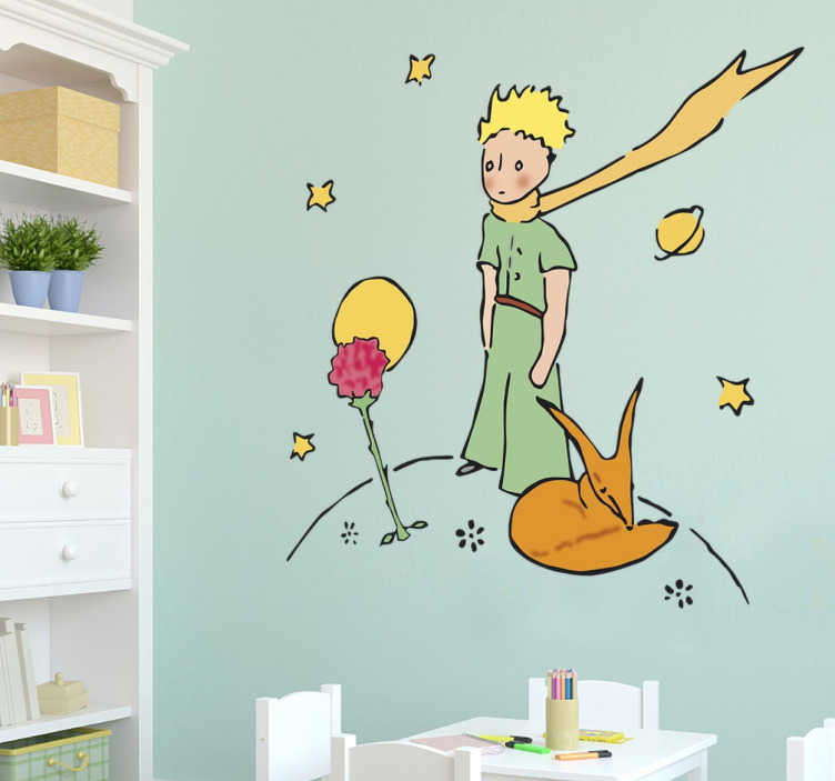 TenStickers. Little Prince and Rose Wall Sticker. Original Little Prince drawing from the famous novel by Antoine Saint-Exupéry in the form of a wall sticker. This colourful Little Prince wall sticker is perfect for creating a loving and childlike atmosphere for any kids room, nursery or living room.