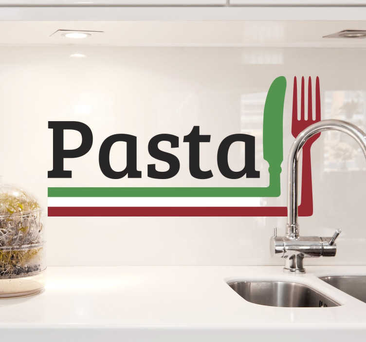 TenStickers. Wall Sticker Pasta. Adesivo raffigurante la scritta Pasta ed un coltello ed una forchetta color verde e rosso formando cosi la bandiera del nostro amato bel Paese