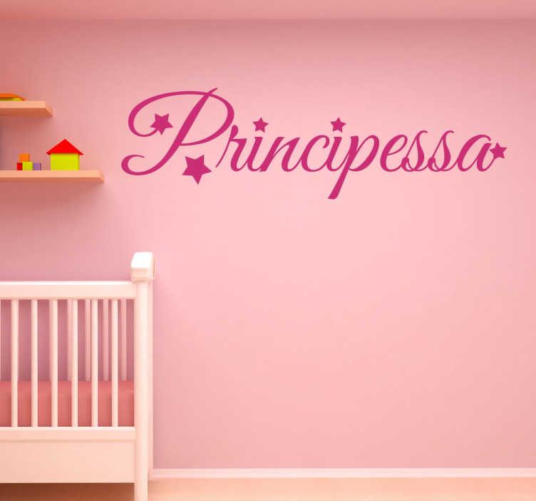 TenStickers. Sticker Principessa. Wall sticker decorativo che raffigura la scritta principessa. Perfetto per tutti coloro che vogliono decorare la cameretta della propria figlia
