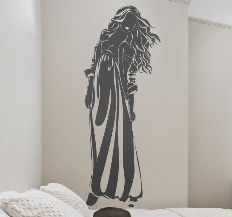 TenStickers. 신비한 레이디 데칼. 벽 스티커-드레스에 긴 머리를 가진 여성의 실루엣 그림.