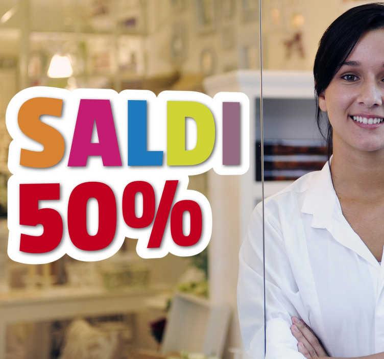 TenStickers. Sticker Saldi. Sticker decorativo che raffigura la scritta Saldi, ideale per tutti coloro che hanno un negozio e vogliono decorare la propria vetrina.