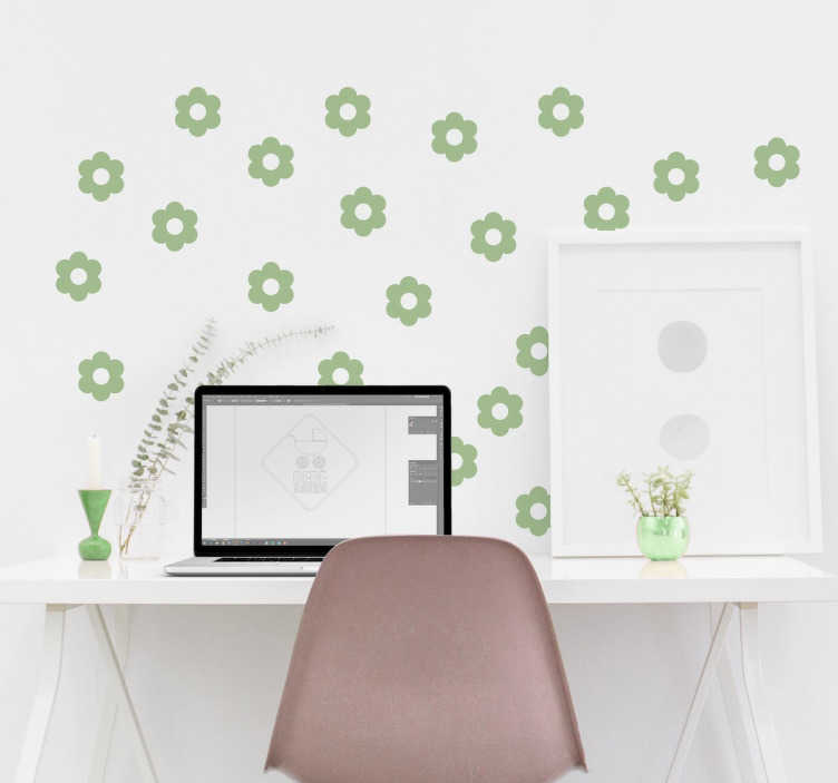 TenStickers. Flower Pattern Wall Sticker. Flower wall paper decal. Add decoration to any room with this pretty floral pattern. The flower pattern comes in up to 50 colours.