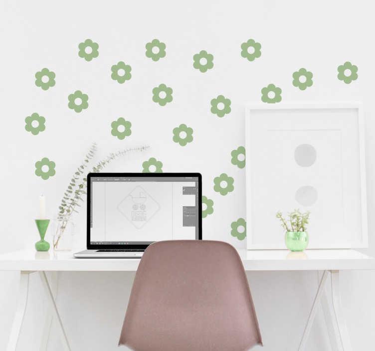 TENSTICKERS. 花のパターンの壁のステッカー. 花壁紙デカール。このかわいい花の模様でどの部屋にも装飾を加えましょう。花のパターンは50色までです。