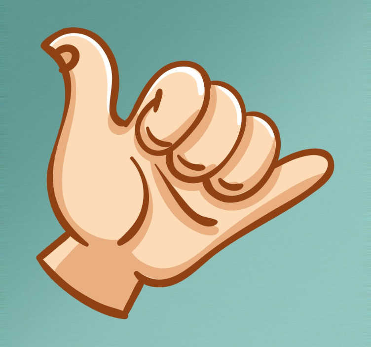 TenStickers. Surfer Hand Sticker. Surfer sticker with the recognised symbol of the little finger and thumb pointing upwards.