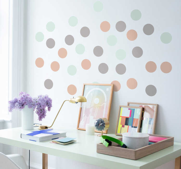 TenStickers. Pastel Dots Sticker. Adhesive sheet of pastel coloured circles, perfect to add a neutral yet effective touch to any room.