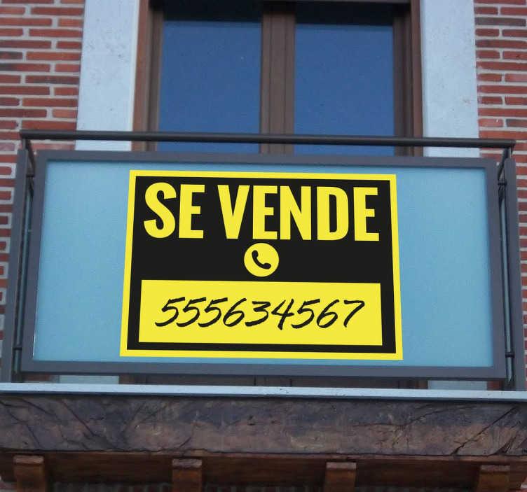 TenVinilo. Vinilo cartel se vende amarillo y negro. Señala con claridad si tienes una vivienda o negocio en venta con un vinilo decorativo.