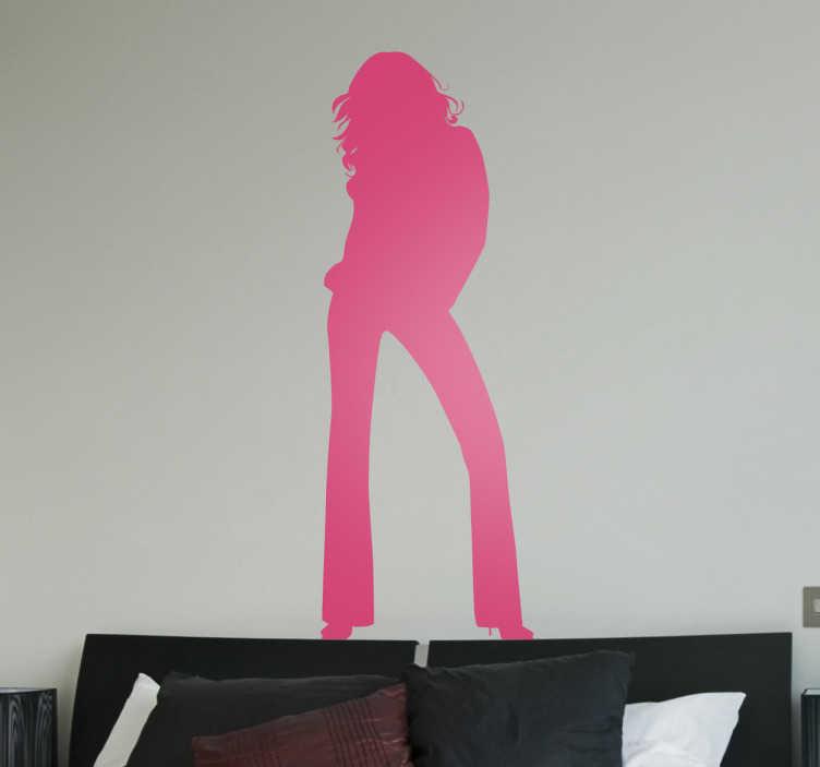 TenStickers. Sticker silhouette femme moderne. Stickers décoratif illustrant la silhouette d'une femme portant un pantalon patte d'éléphant.Idée déco pour la chambre à coucher ou le salonde façon simple et girly.