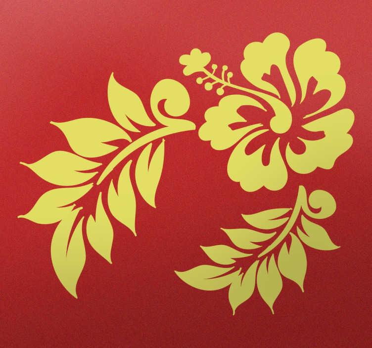 TENSTICKERS. ハワイの花のステッカー. サーファースタイルのフラワーステッカーで、滑らかな表面を飾るのに理想的です。ハワイのテーマの花に2つの大きな葉があり、どんな部屋にも色とりどりの色と色を与えてくれます。