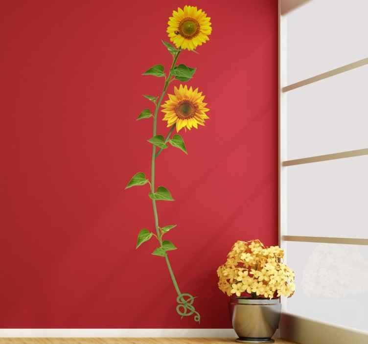 TenStickers. Vinil decorativo girassol joaninha. Vinil decorativo original de inspiracão floral para dar vida e cor a qualquer lugar de sua casa. Adesivo de parede de um girassol com uma joaninha.