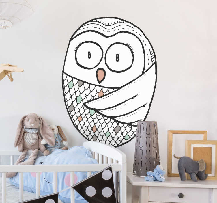 TenStickers. Owl Illustration Sticker. A wall sticker designed exclusively for tenstickers.co.uk of a cute Nordic style owl. Perfect for children's bedrooms.
