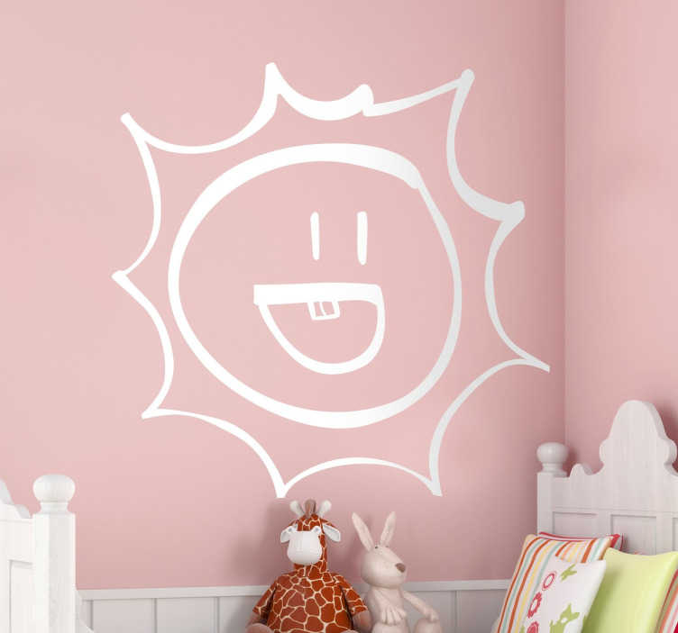TenStickers. Smiling Sunshine Sticker. Kids sticker with a fun drawing of a happy and smiling sunshine.