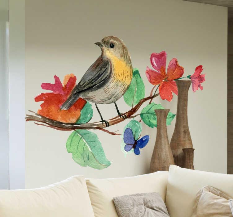 TenStickers. Naklejka na ścianę ptak na gałązce. Kolorowa, dekoracyjna naklejka na ścianę przedstawiająca ptaka na gałązce otoczonego kwiatami w kolorze czerwonym.